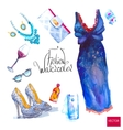 set of trendy look watercolor vector image vector image