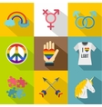 Sexual minorities icons set flat style vector image vector image