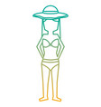 standing woman with swinsuit bikini and hat vector image vector image