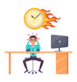 stressed male office worker and overdue deadline vector image