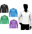 T-shirts male polo long sleeve set vector image vector image