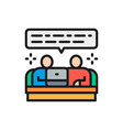 teamwork team communication flat color line icon vector image