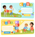 Two banners with preschool kids with colored abc