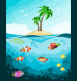 underwater world with fish and tropical island vector image vector image