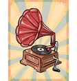 Vintage background with phonograph vector image