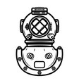 vintage diver helmet design element for logo vector image vector image