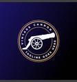vintage retro cannon gun gunnery badge emblem logo vector image vector image