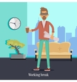 Working Break Man with Cup of Coffee Holds Papers vector image