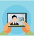 flat of webinar online conference lectures and vector image