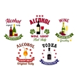 Alcohol drinks cocktail bar emblems set vector image