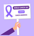 world cancer day banner or poster vector image