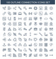 100 connection icons vector image vector image
