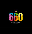 660 number grunge color rainbow numeral digit logo vector image vector image
