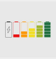 battery charge indicator icons set status of vector image vector image