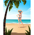 beautiful woman stand on beach tropical landscape vector image vector image