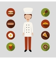 chef and food icons vector image