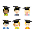 children with graduation cap set vector image vector image