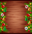 Christmas tree branches on wood background vector image vector image