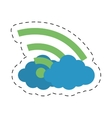 Cloud internet wifi technology cut line vector image