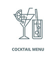 cocktail menu line icon cocktail menu vector image
