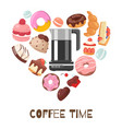 coffee break heart shape with vector image