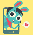 Cute Bunny Lover Girl Showing on Phone Screen vector image vector image