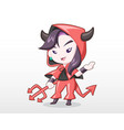 cute style girl in devil costume vector image vector image