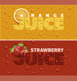 drinks and juice background with drops and orange vector image vector image