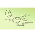 easter one line drawing chickens vector image