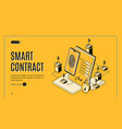 electronic contract isometric banner e-signature vector image vector image