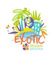 exotic logo original design beach holidays vector image vector image