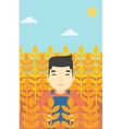 Farmer in wheat field vector image vector image