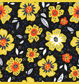flowers with leaves retro seamless pattern vector image
