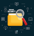 folder document with internet security icons vector image