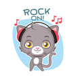 funny sticker with cute gray cat - rocking out vector image vector image