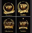 golden vip invitation retro template on black vector image vector image