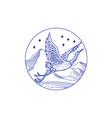 Great Blue Heron Flying Circle Mono Line vector image vector image