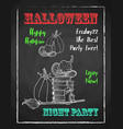 Happy halloween chalk poster for party textured vector image
