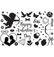 happy valentine s day set icons stencil black vector image vector image