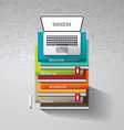 infographic books step with doodles line drawing vector image