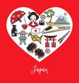 japan national symbols and culture elements inside vector image vector image