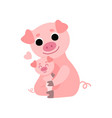 mother pig and baby piglet cute animal family vector image