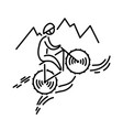 mountain bike icon cycling bicycle thin vector image