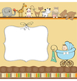 new baby boy announcement card with pram vector image
