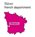 Nievre french department map vector image vector image