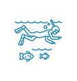 ocean diving linear icon concept ocean diving vector image vector image