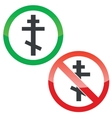Orthodox cross permission signs set vector image vector image