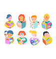 people reading story books or studying design vector image