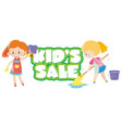 poster design with two girls cleaning vector image vector image