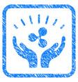 ripple prosperity hands framed stamp vector image vector image